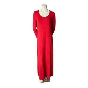 Tommy Bahama Red Tambour Long Sleeved Long Dress M